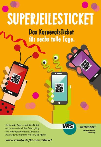 Flyer der VRS Superjeilesticket das Karnevalsticket